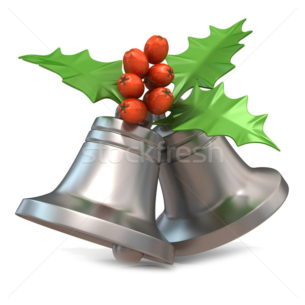 Silver Christmas bells with holly berries, 3D Stock photo © djmilic