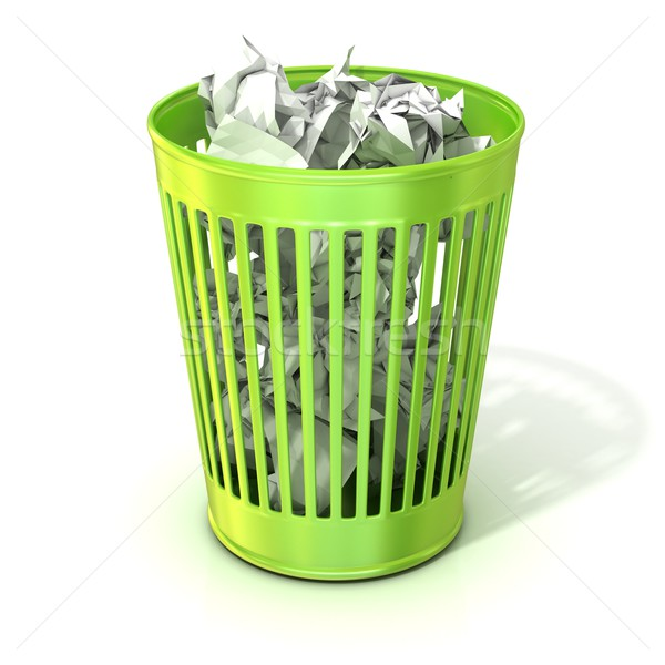 Green trash bin, full of crumpled paper Stock photo © djmilic