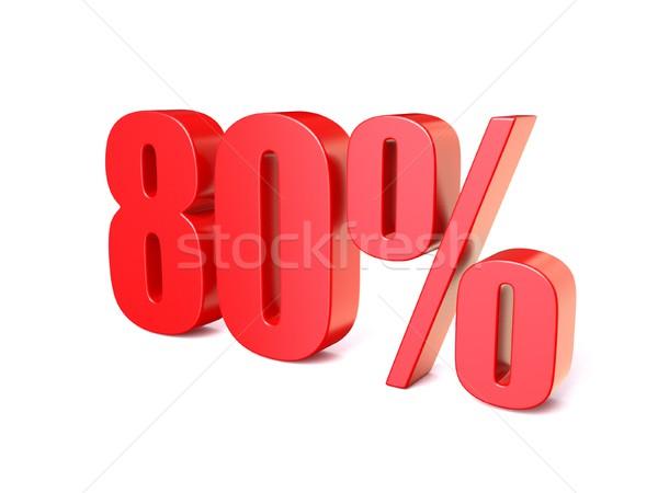 Rot Prozentsatz Zeichen 80 3D 3d render Stock foto © djmilic