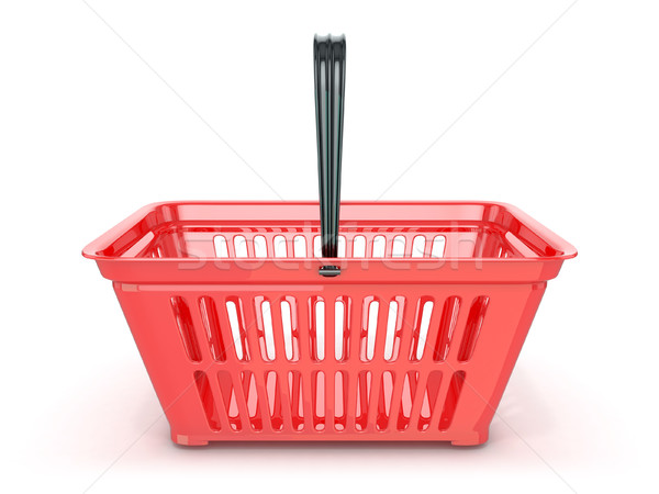 Piros bevásárlókosár elöl kilátás 3D renderelt Stock fotó © djmilic