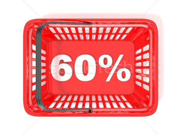 Stok fotoğraf: 60 · yüzde · indirim · etiket · kırmızı · alışveriş · sepeti
