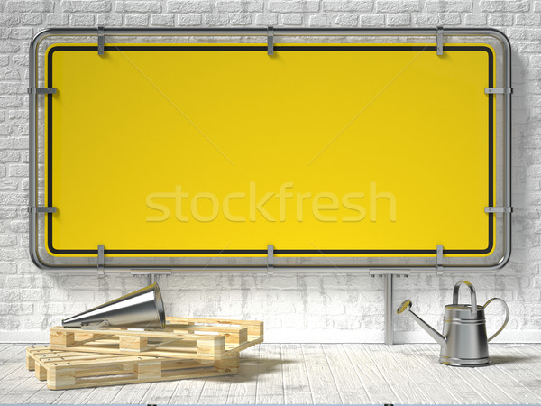 Mock up poster with blank framed warning sign. 3D Stock photo © djmilic