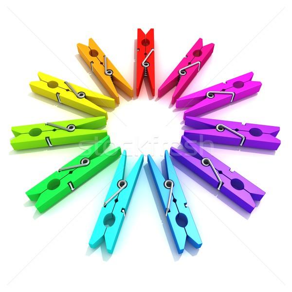 Clothes pins color wheel Stock photo © djmilic