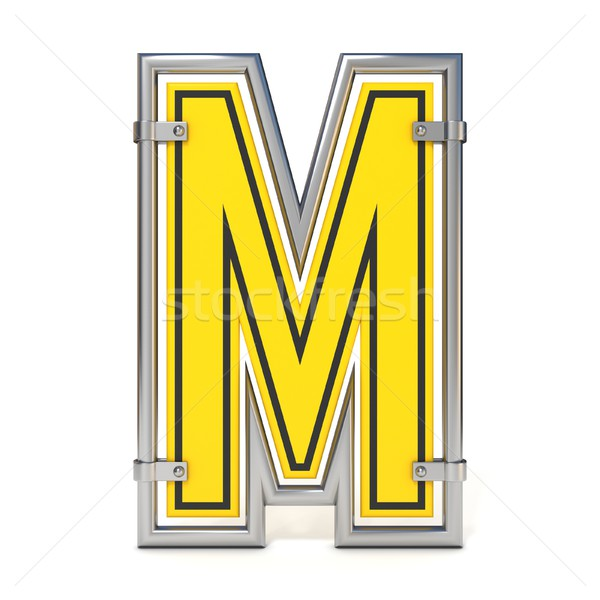 Framed traffic road sign FONT letter M 3D Stock photo © djmilic