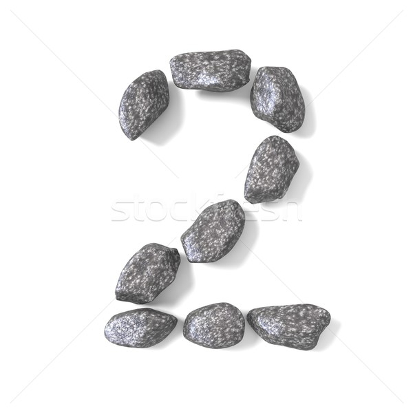 Font made of rocks NUMBER two 2 3D Stock photo © djmilic