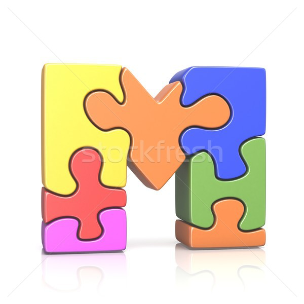 Puzzle jigsaw letter M 3D Stock photo © djmilic