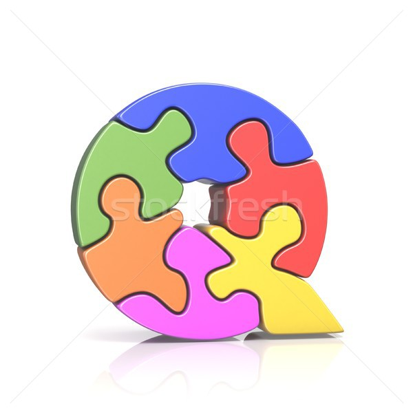 Puzzle jigsaw letter Q 3D Stock photo © djmilic