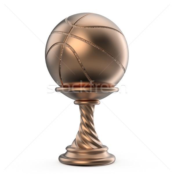 Bronz trófea csésze kosárlabda 3D 3d render Stock fotó © djmilic