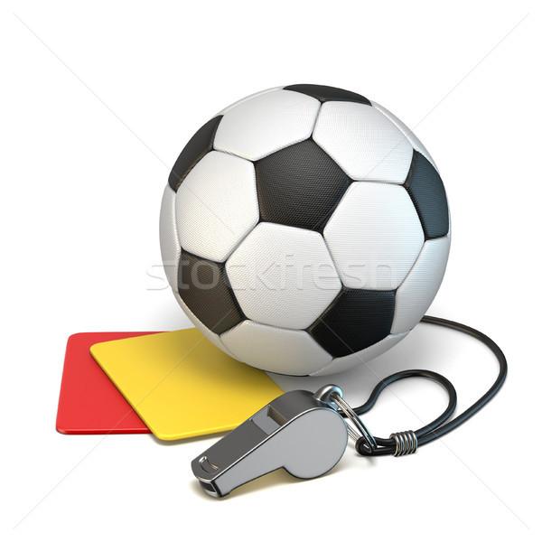 Foto stock: Futebol · 3D · ilustração · isolado · branco