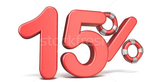 Reddingsboei 15 procent teken 3d render illustratie Stockfoto © djmilic