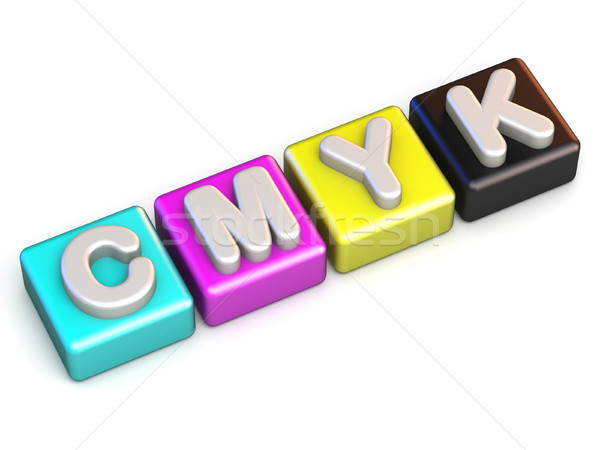 CMYK colors cube 3D render illustration Stock photo © djmilic