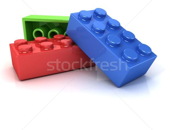 Műanyag tömbházak gyerekek játék izolált fehér Stock fotó © djmilic