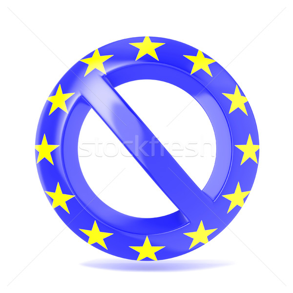 Forbidden sign with EU flag. 3D Stock photo © djmilic