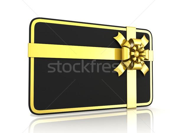Negro tarjeta de regalo dorado cinta 3D 3d Foto stock © djmilic