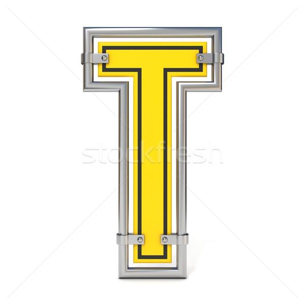 Stock photo: Framed traffic road sign FONT letter T 3D