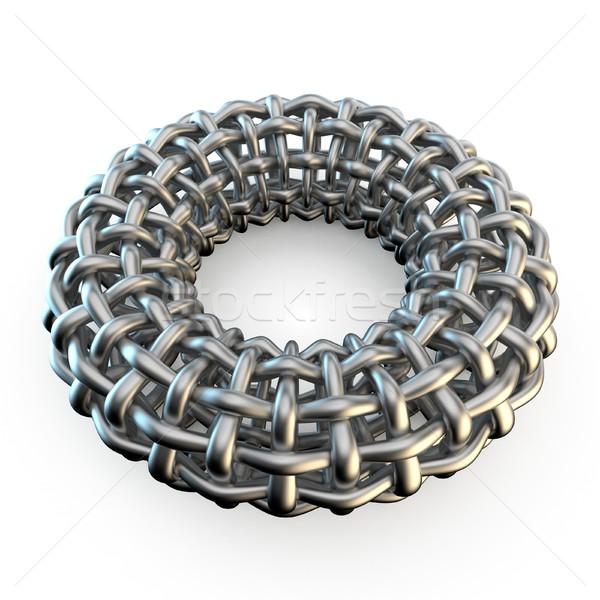 Abstract metal mesh torus 3D Stock photo © djmilic