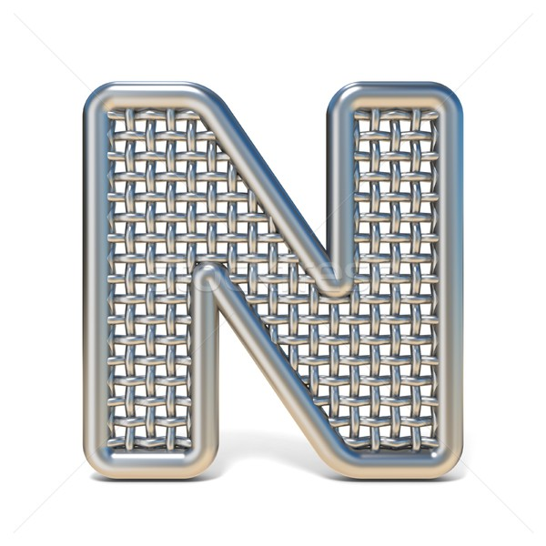 Outlined metal wire mesh font LETTER N 3D Stock photo © djmilic