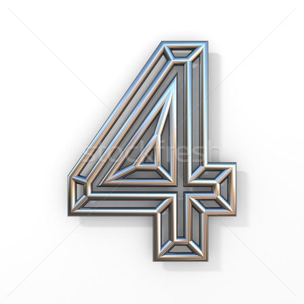 Drót skicc betűtípus szám négy 3D Stock fotó © djmilic