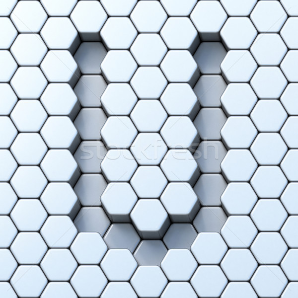 Stock photo: Hexagonal grid letter U 3D