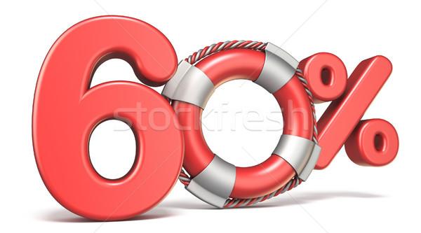 Salvagente 60 cento segno 3D rendering 3d Foto d'archivio © djmilic