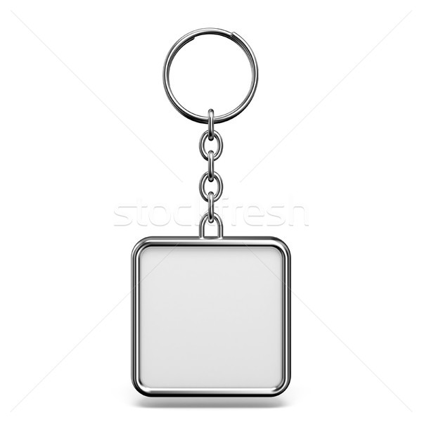 Blank metal trinket with a ring for a key square shape 3D Stock photo © djmilic