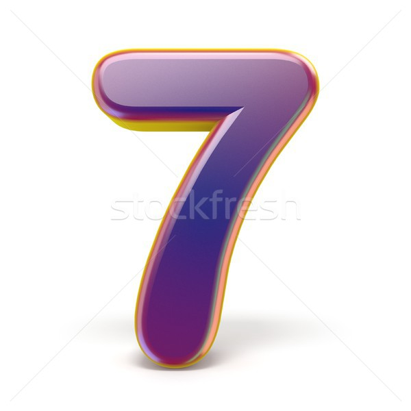 Number SEVEN 7 purple font yellow outlined 3D Stock photo © djmilic