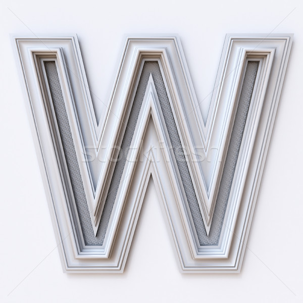 White picture frame font Letter W 3D Stock photo © djmilic
