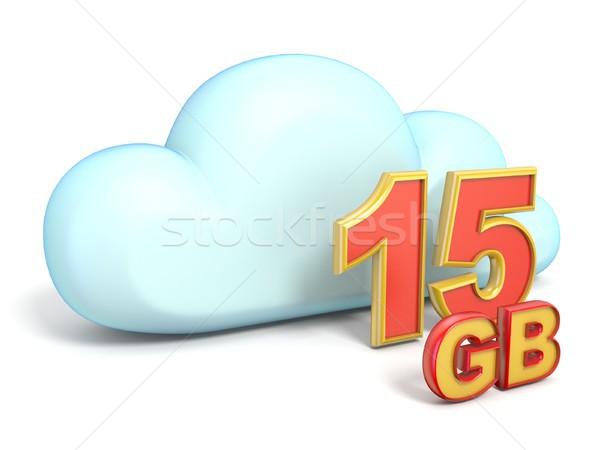 Cloud icon 15 GB storage capacity 3D Stock photo © djmilic