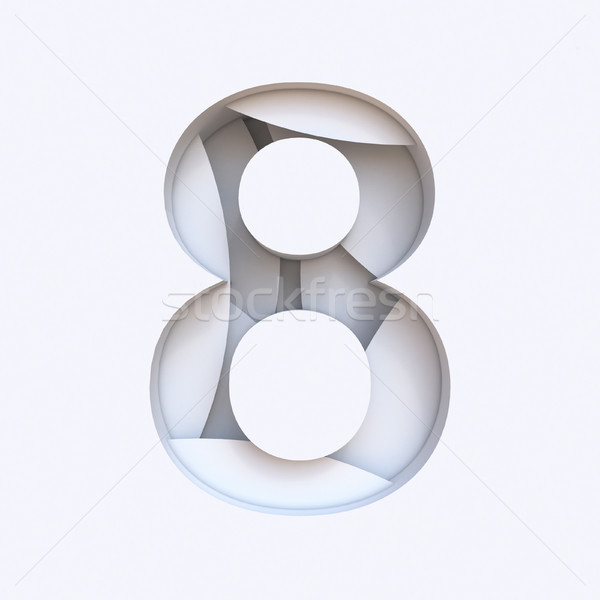 White abstract layers font Number 8 EIGHT 3D Stock photo © djmilic