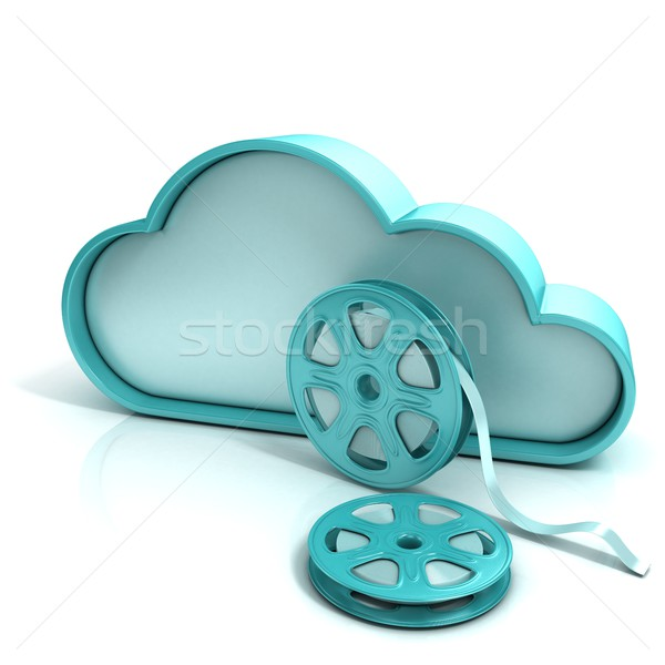 Cloud movie 3D computer icon Stock photo © djmilic