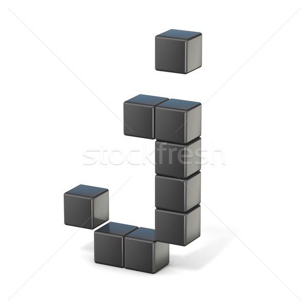 8 bit font. Lowercase letter J. 3D Stock photo © djmilic
