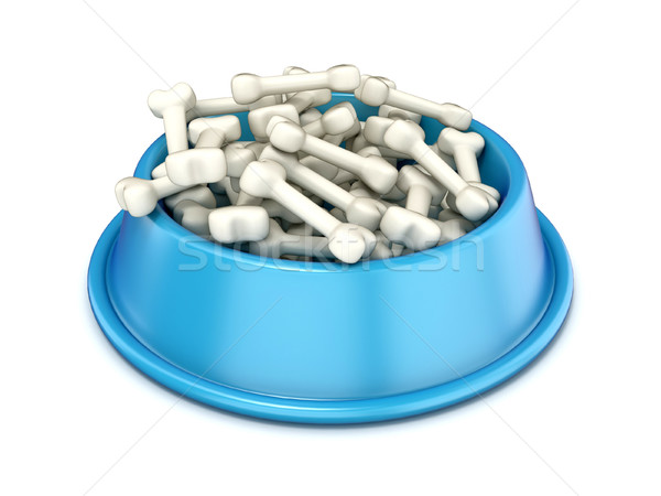 Blue dog bowl with bones, 3D Stock photo © djmilic