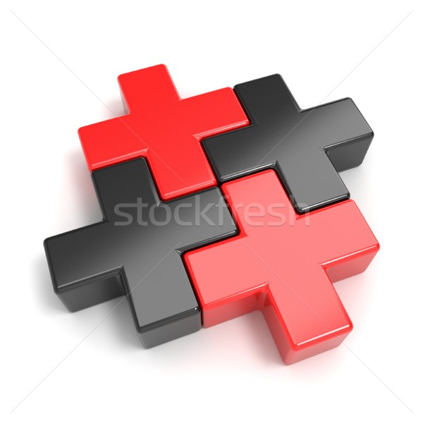 Black and red abstract plus jigsaw puzzle pieces. 3D Stock photo © djmilic