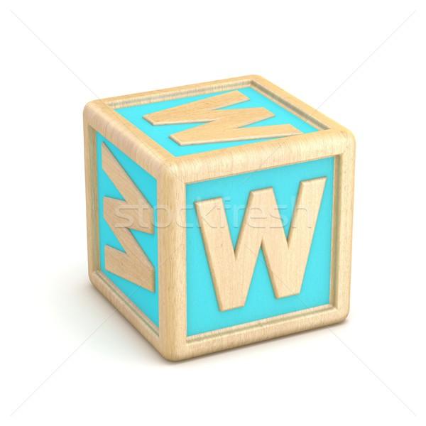 Letter W wooden alphabet blocks font rotated. 3D Stock photo © djmilic