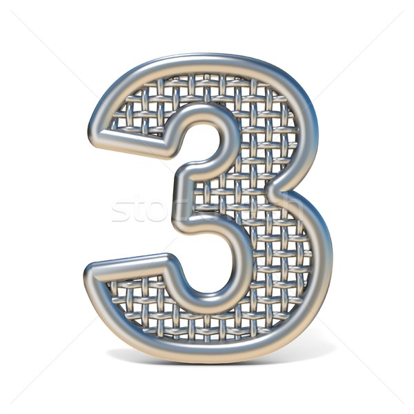 Outlined metal wire mesh font Number 3 THREE 3D Stock photo © djmilic