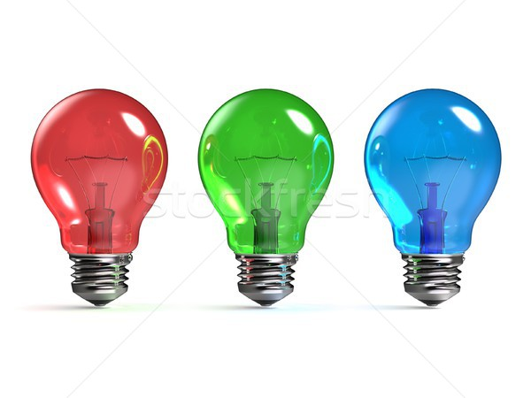 RGB red, green and blue light bulbs 3D Stock photo © djmilic