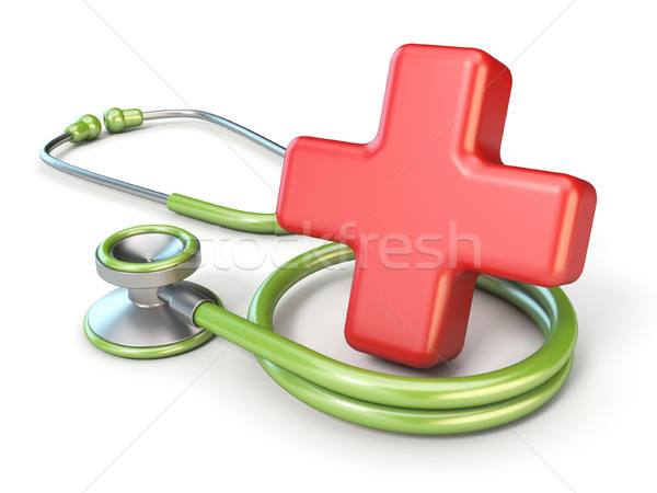 Medical stethoscope and red cross shape 3D Stock photo © djmilic