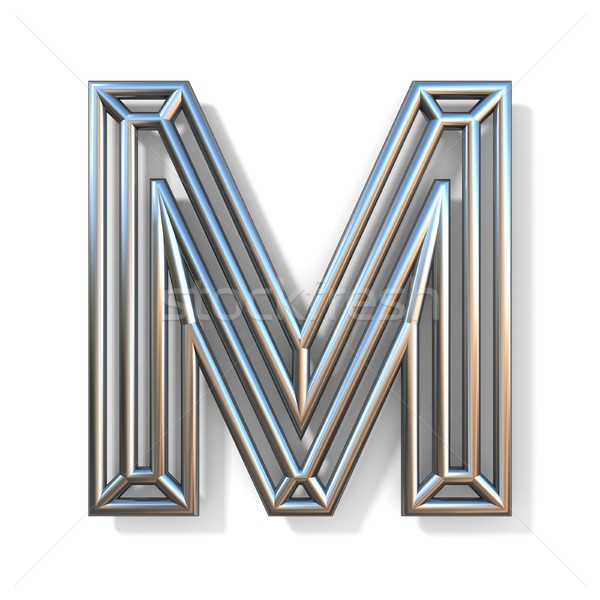 Wire outline font letter M 3D Stock photo © djmilic