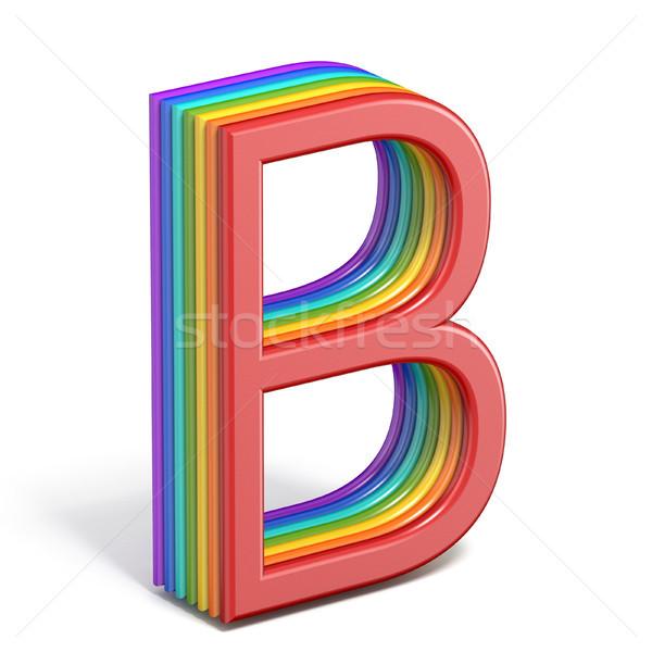 Rainbow font letter B 3D Stock photo © djmilic