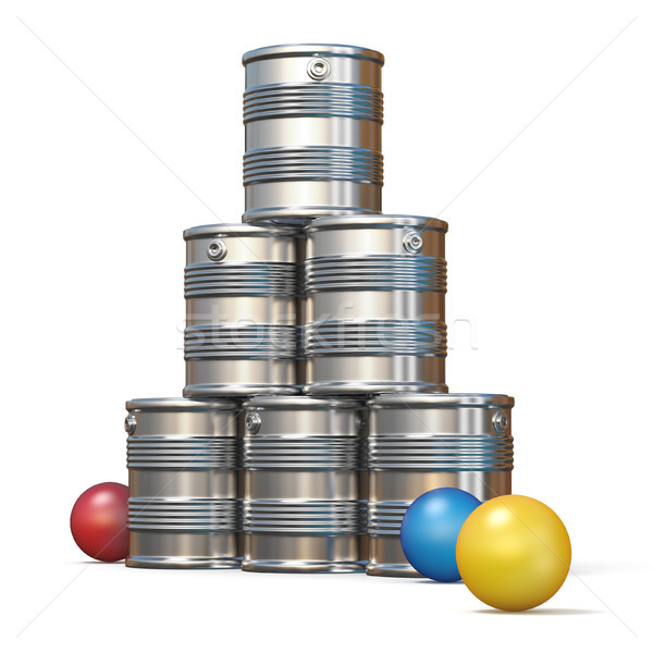 Stock photo: Tin cans and three balls 3D rendering illustration on white back