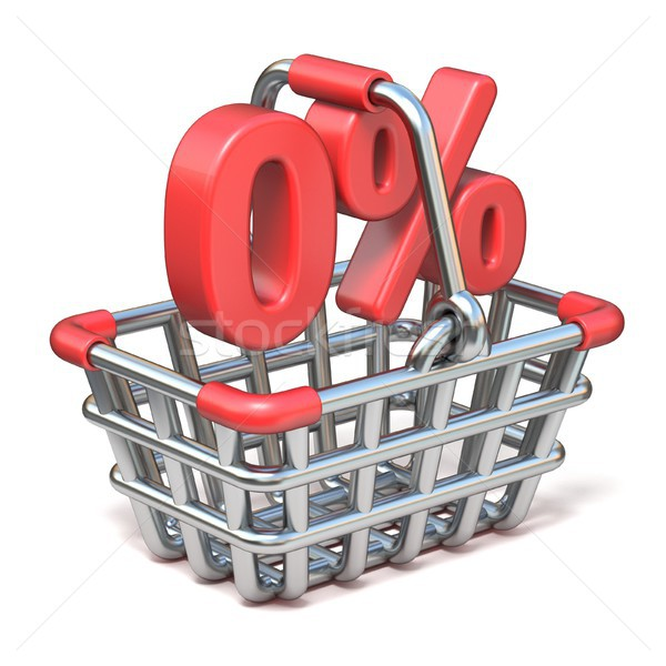 Stock photo: Metal shopping basket 0 PERCENT sign 3D
