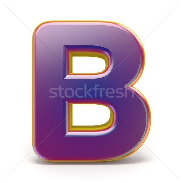 Letter B purple font yellow outlined 3D Stock photo © djmilic