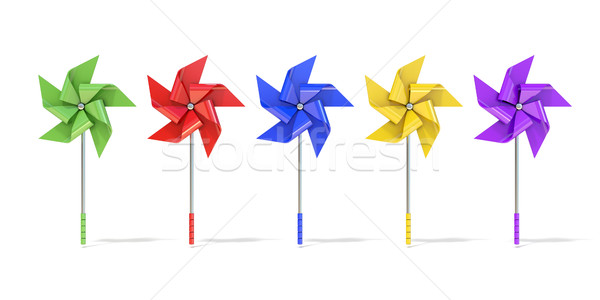 Five colorful five sided pinwheels. 3D Stock photo © djmilic