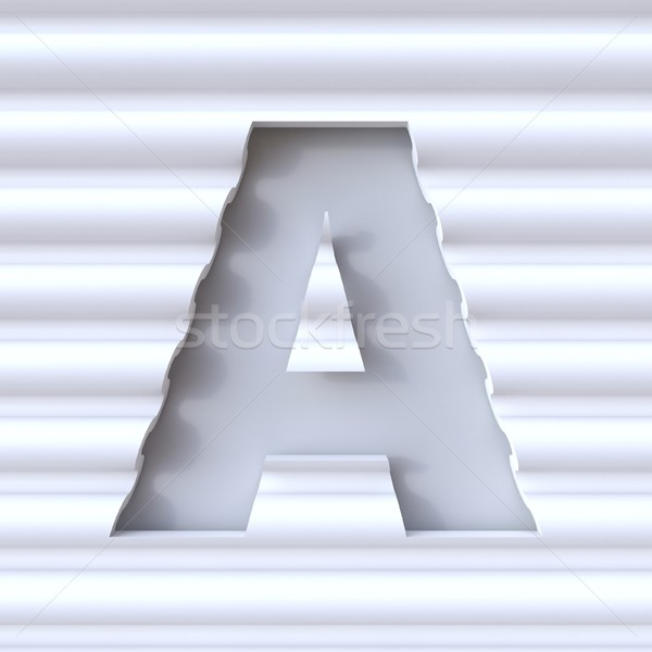 Cut out font in wave surface LETTER A 3D Stock photo © djmilic
