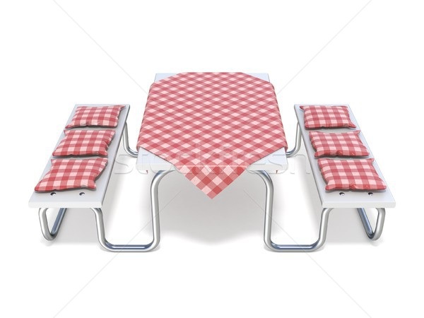 Picknicktafel Rood tabel dekken 3D Stockfoto © djmilic