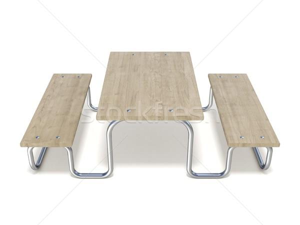 Houten picknicktafel 3D 3d render illustratie geïsoleerd Stockfoto © djmilic