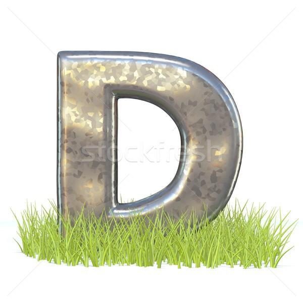 гальванизированный металл шрифт буква d трава 3D Сток-фото © djmilic