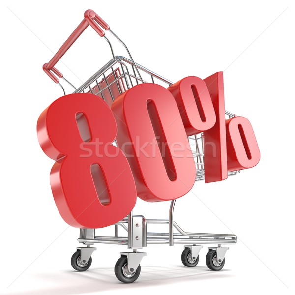 Stock photo: 80% - eighty percent discount in front of shopping cart. Sale co