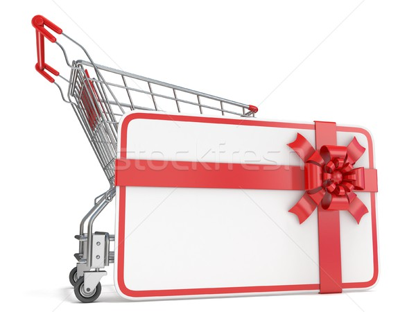 Gift card with blank space for text and shopping cart. 3D Stock photo © djmilic