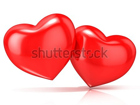 Two red hearts. 3D Stock photo © djmilic